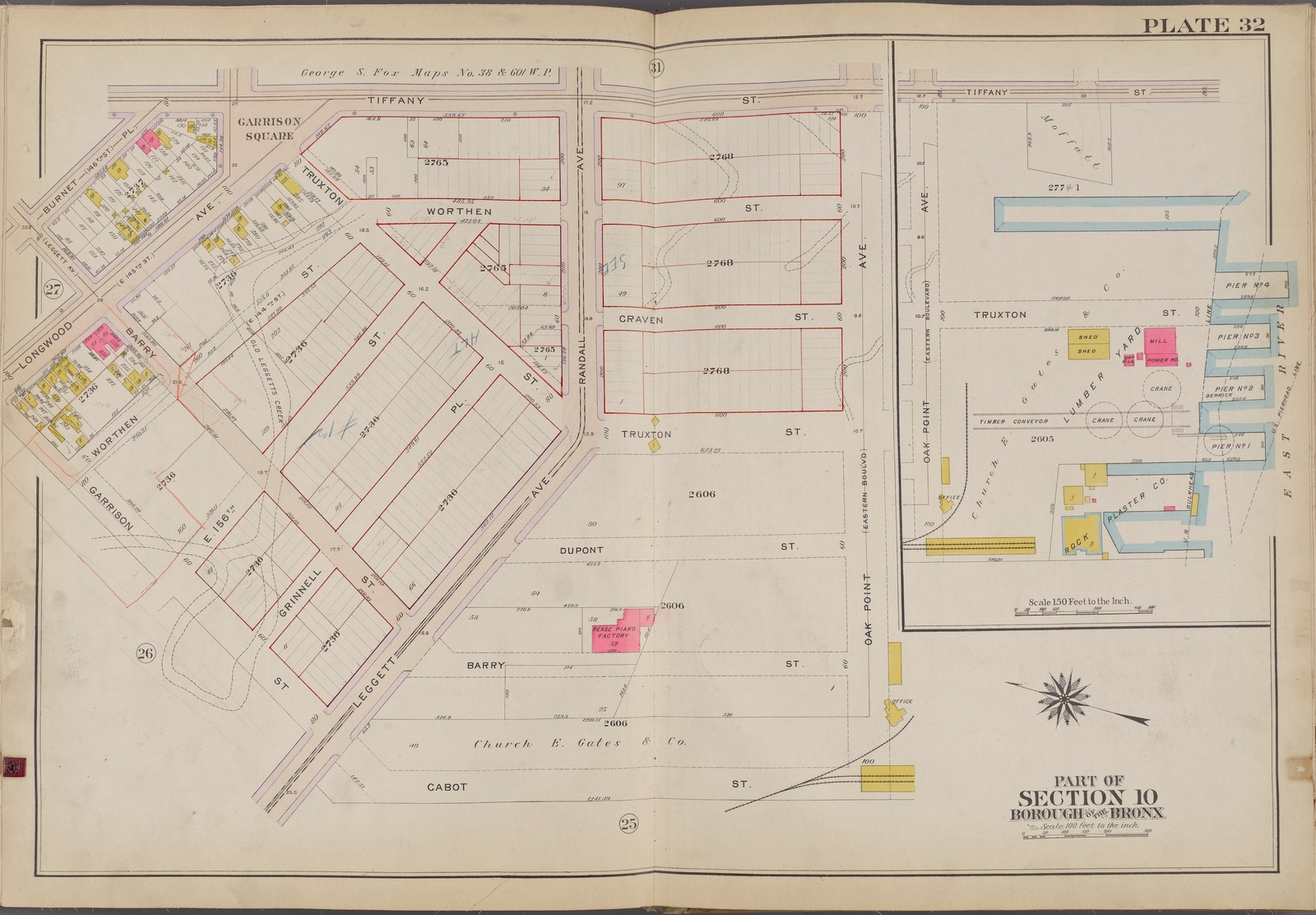 Plate 32 [Map bounded by Tiffany St., Oak Point Ave., Cabot St., Garrison St., Burnet Pl.]