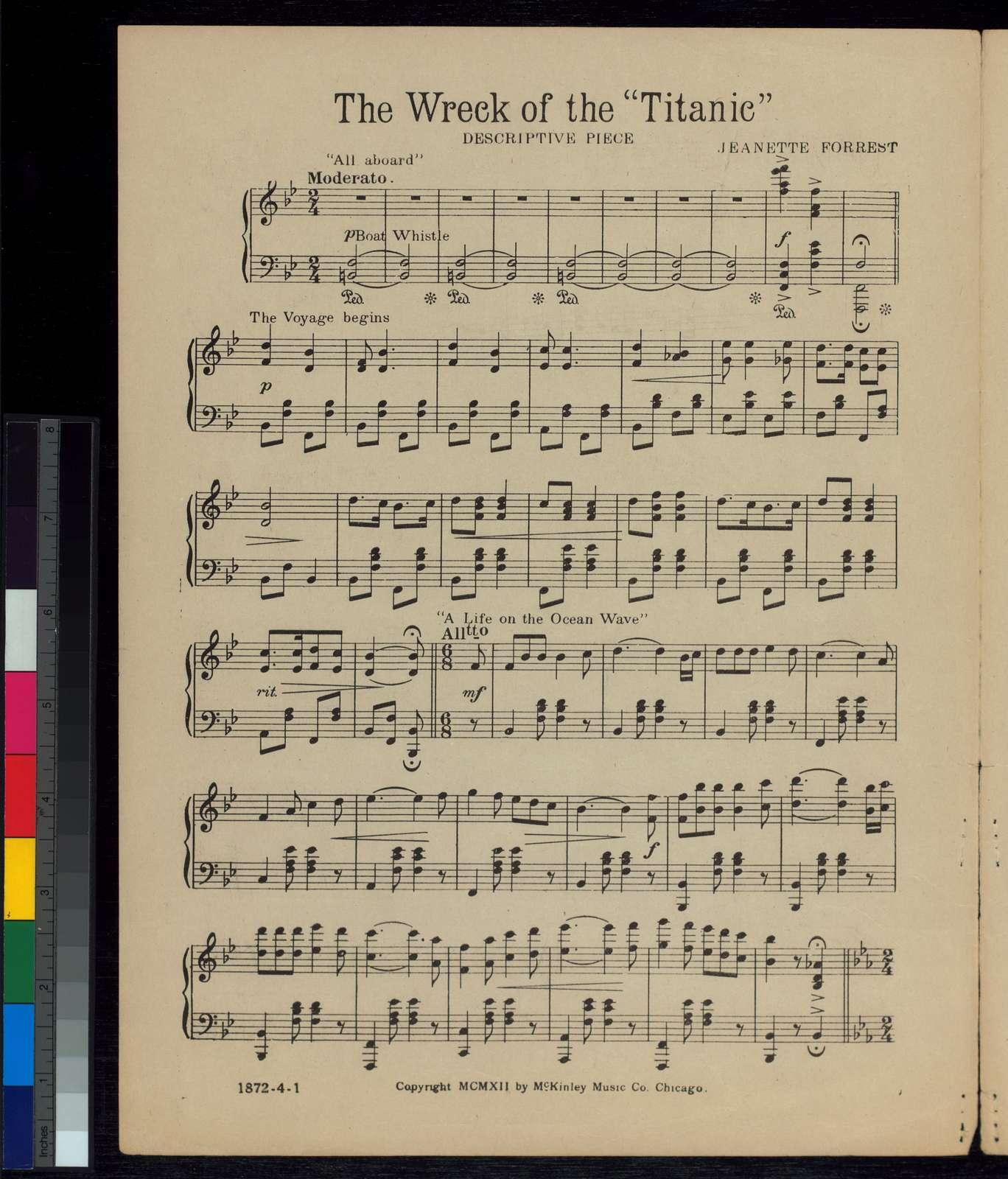 The wreck of the Titanic: descriptive piece