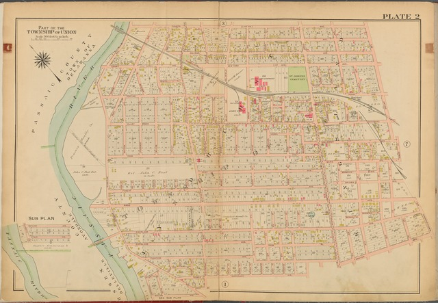 Bergen County, V. 2, Double Page Plate No. 2 [Map bounded by 4th Ave., Orient Way, Newark Ave., Teneyck Ave., Thomas Ave., Wayland Ave., Passaic River]