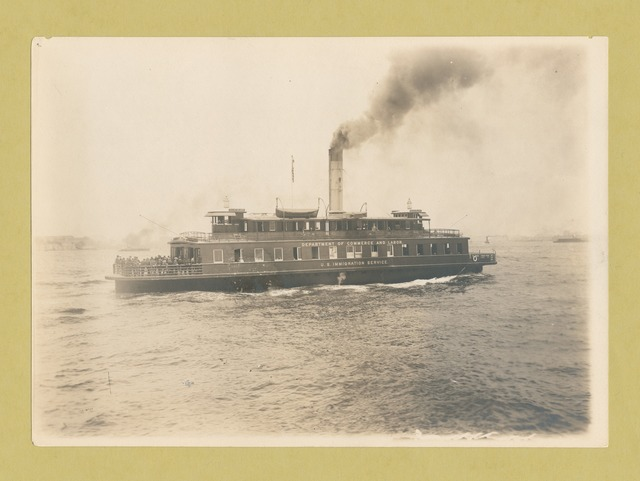 Ferry boat, the Ellis Island, which is also marked Department of Commerce and Labor, U.S. Immigration Service.