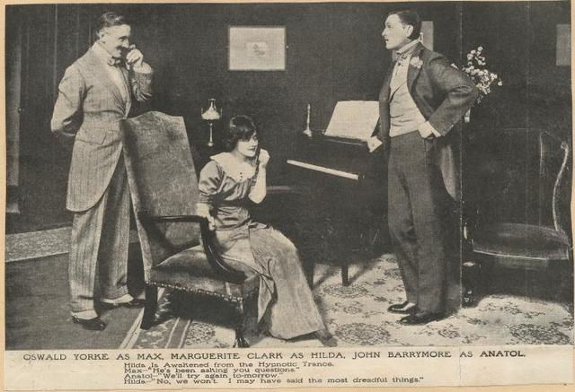 Oswald Yorke, Marguerite Clark and John Barrymore in the stage production The Affairs of Anatol.