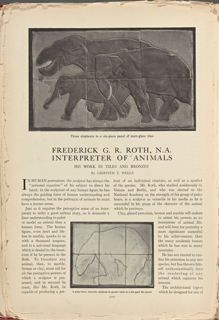 Three elephants in a six-piece panel of matt-glaze tiles; A polar bear, cleverly outlined in poster style in a six-part tile panel vol. 2, no. 6, p. 222