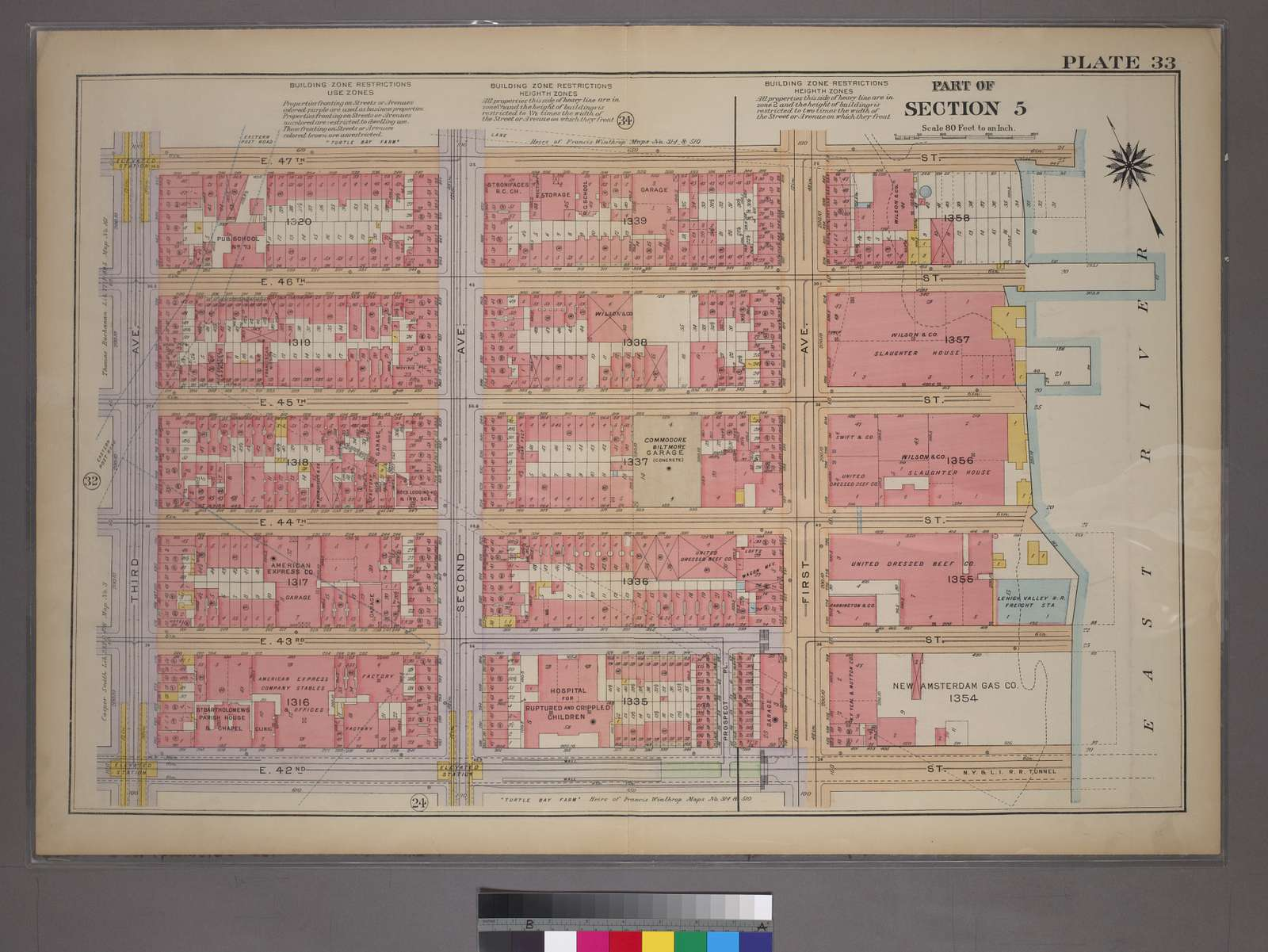Plate 33, Part of Section 5: [Bounded by E. 47th Street, (East River Piers), First Avenue, E. 42nd Street and Third Avenue]