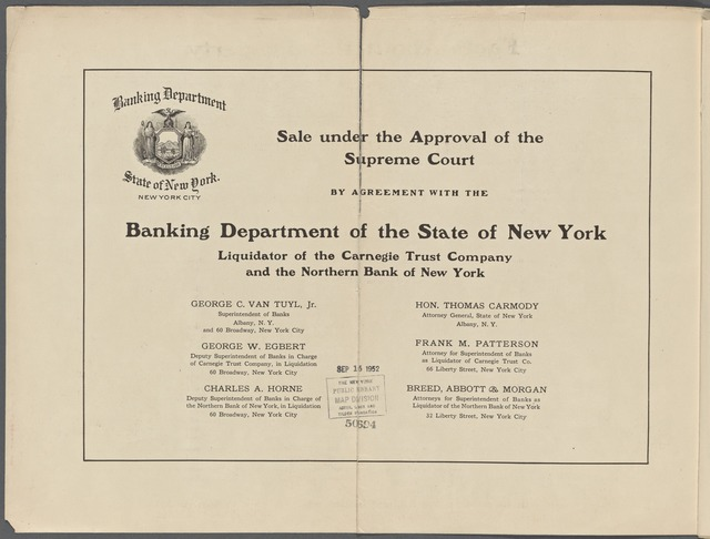 Auction Sale of Morris Park Race Trac, Bronx Borough, New York City. Consisting of 3019 Lots, Several Dwellings and other Buildings under Approval of the Supreme Court by agreement with the Banking Department of the State of New York, Liquidators of the Carnegie Trust Co. and the North Bank of NY