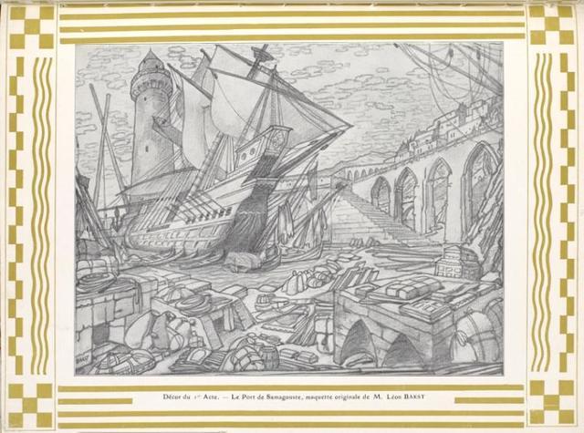Decor du Acte - Le Port de Samagouste maquette originale de M. Léon Bakst
