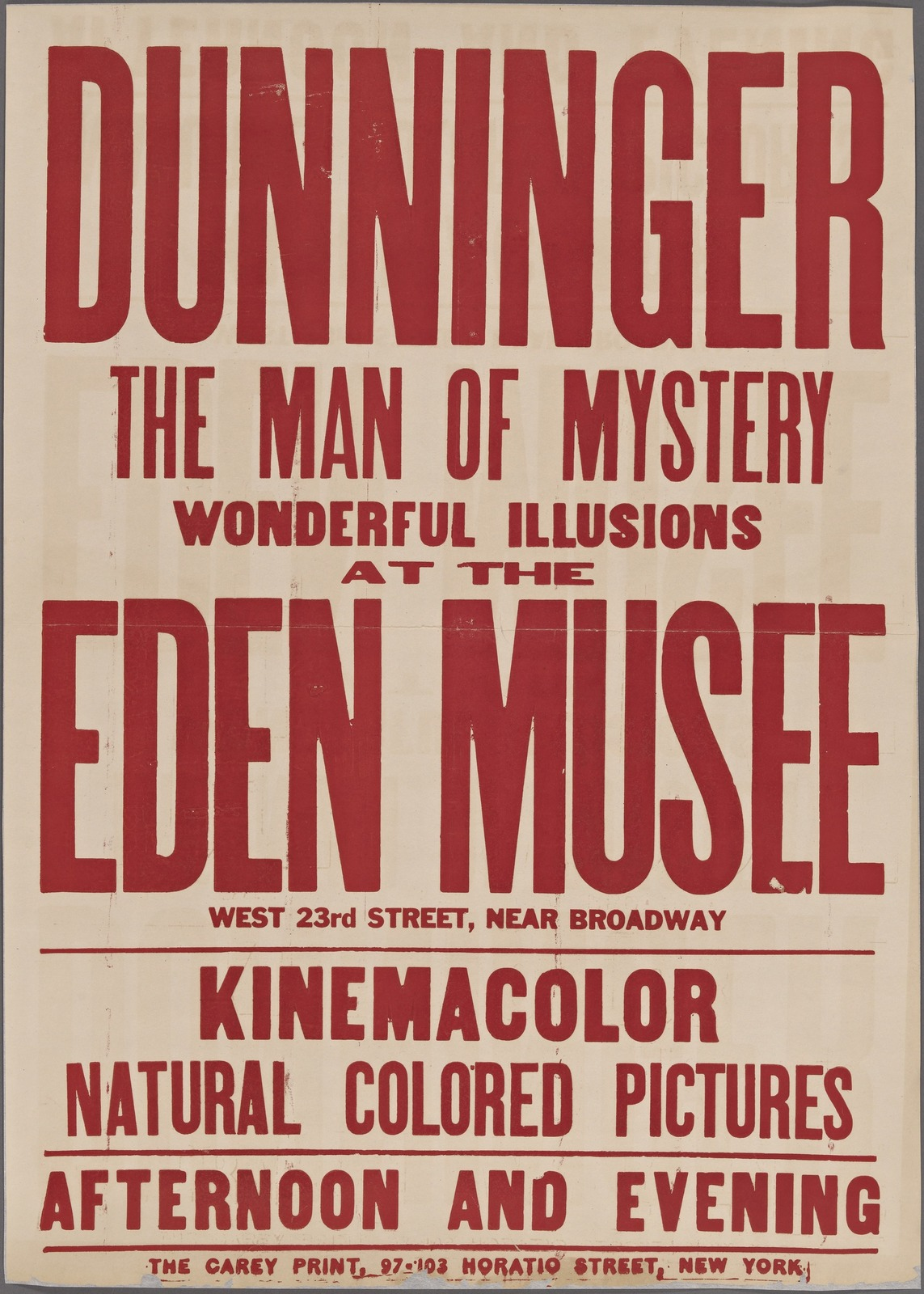 Dunninger at the Eden Musee: (red variant)