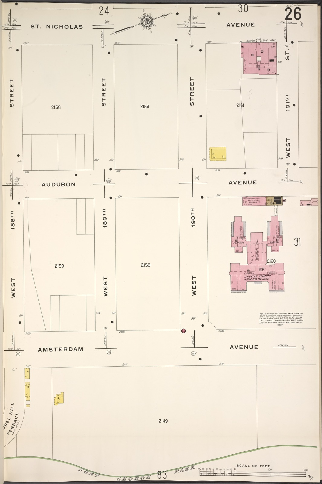 Manhattan, V. 12, Plate No. 26 [Map bounded by St. Nicholas Ave., W. 191st St., Amsterdam Ave., W. 188th St.]