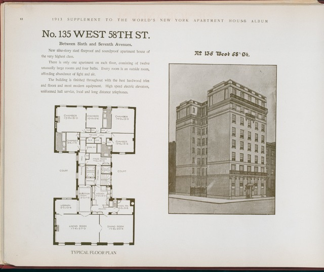 No. 135 West 58th Street. Between Sixth and Seventh Avenues.