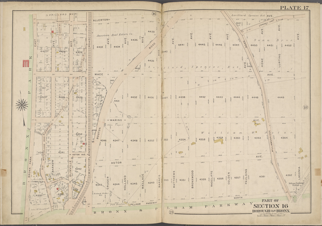 Plate 17 [Map bounded by Allerton Ave., Laconia Ave., Bronx & Pelham Parkway, Bronx Park East]