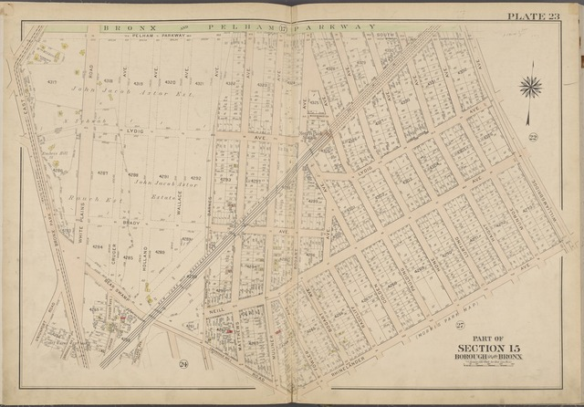 Plate 23 [Map bounded by Bronx & Pelham Parkway, Williamsbridge Ave., Rhinelander Ave, Bear Swamp Rd., Bronx Park East]
