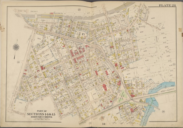 Plate 28 [Map bounded by Sacket Ave., Waters Ave., Westchester Ave., Castle Hill Ave.]