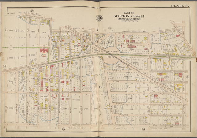 Plate 32 [Map bounded by E. 174th St., McGraw Ave., Olmstead Ave., Watson Ave., Noble Ave.]