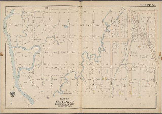 Plate 34 [Map bounded by Watson Ave., Noble Ave., Lafayette Ave., Bronx River]