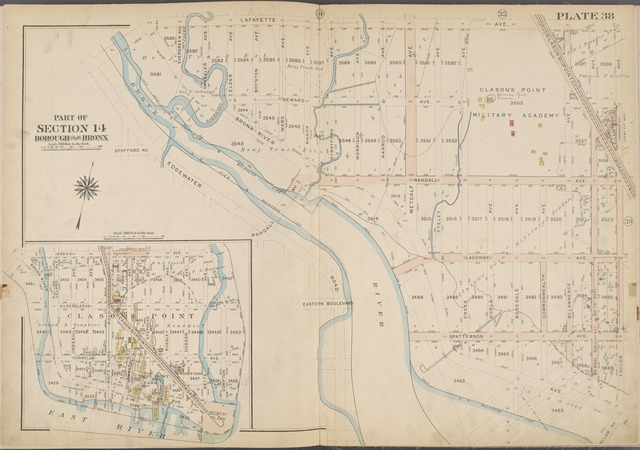 Plate 38 [Map bounded by Lafayette Ave., Clason's Point Rd., Taylor Ave., Bronx River]