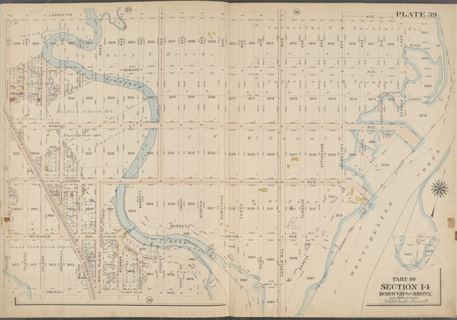 Plate 39 [Map bounded by Lafayette Ave., Westchester Creek, O'Brien Ave, Taylor Ave.]