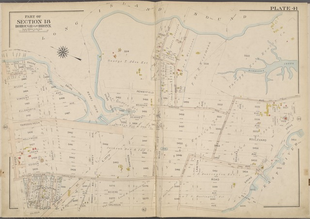 Plate 41 [Map bounded by Long Island Sound, East River, Calhoun Ave., Evans Ave.]