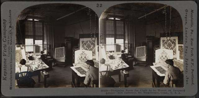 Designing room for cloth to be woven on Jacquard looms. Silk industry, South Manchester, Conn., U.S.A.