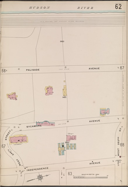 Bronx, V. 13, Plate No. 62 [Map bounded by Hudson River, W. 252nd St., Independence Ave., W. 249th St.]