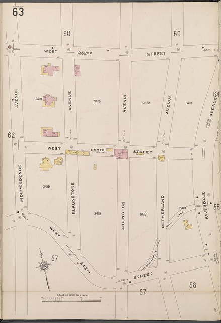 Bronx, V. 13, Plate No. 63 [Map bounded by W. 252nd St., Riverdale Ave., 249th St., Independence Ave.]