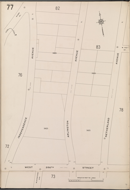 Bronx, V. 13, Plate No. 77 [Map bounded by Netherland Ave., W. 256th St., Independence Ave.]