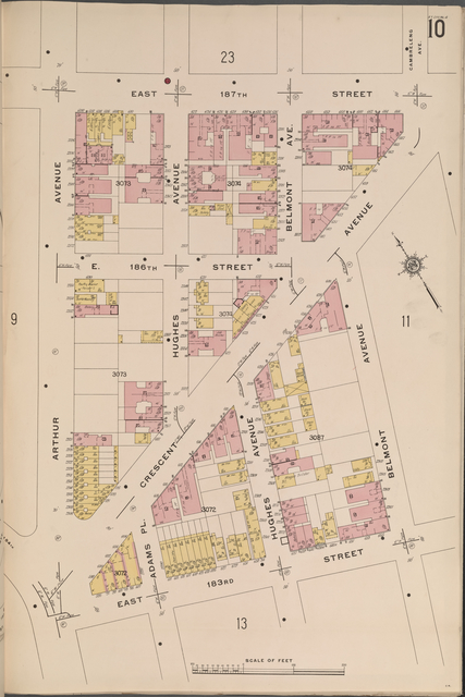 Bronx, V. 14, Plate No. 10 [Map bounded by E. 187th St., Belmont Ave., E. 183rd St., Arthur Ave.]
