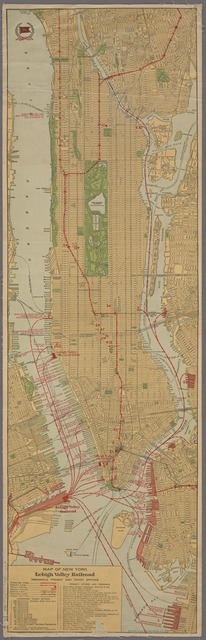 Map of New York City : showing passenger and freight lines, ticket and freight offices, subway, elevated, and street car lines.