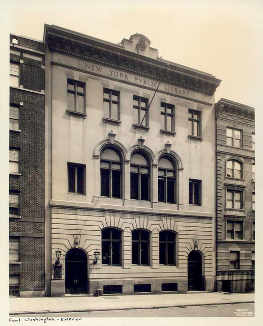 Opened in 1914 at 535 W. 179th Street, Salter Cook and Winthrop A. Welch, Cost $112,607 [Exterior, Fort Washington Branch]