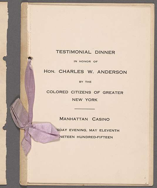 Testimonial Dinner to Hon Charles W Anderson: by the Colored Citizens of Greater New York