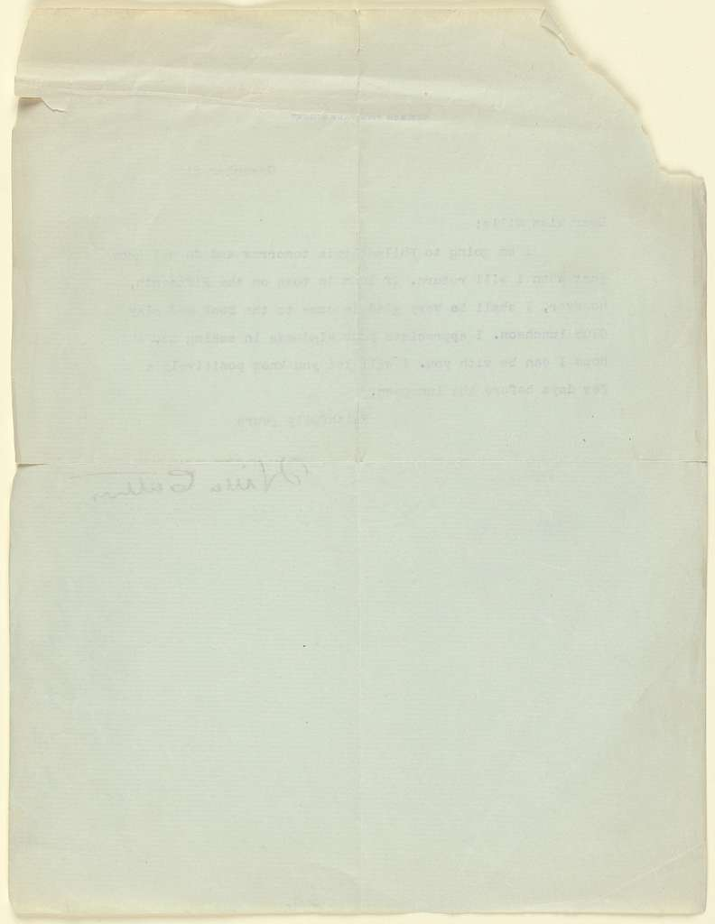 November 8th Letter from Willa Cather