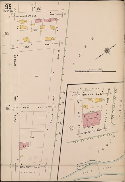 Bronx, V. 15, Plate No. 95 [Map bounded by Honeywell Ave., Bronx Park South, Bryant Ave., E. 181st St.]