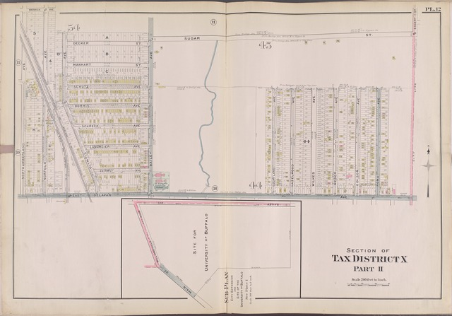 Buffalo, V. 1, Double Page Plate No.12 [Map bounded by Warwick Ave., Sugar St., E. Delavan Ave., N. Umberland Ave.]