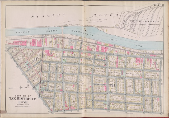 Buffalo, V. 1, Double Page Plate No.27 [Map bounded by Niagara River, Bird Ave., Grant St., Hampshire St.]