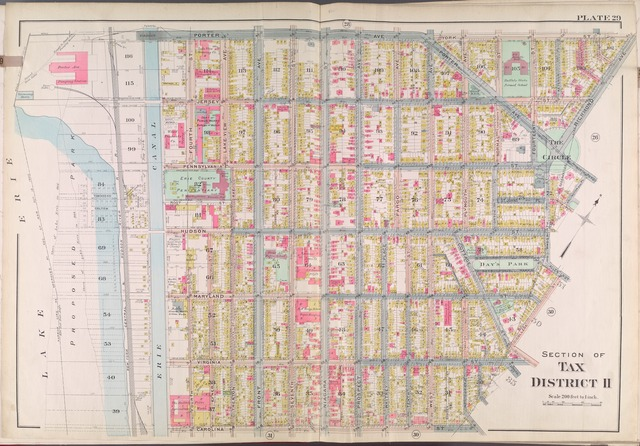 Buffalo, V. 2, Double Page Plate No. 29 [Map bounded by Porter Ave., York St., Richmond Ave., Carolina St., Lake Eire]