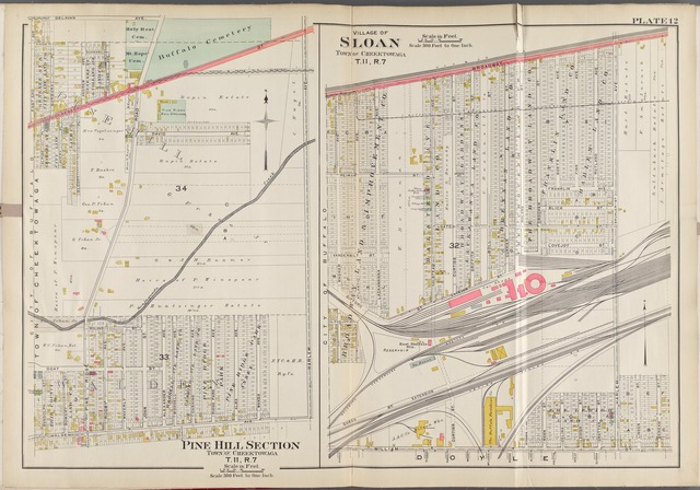 Buffalo, V. 3, Double Page Plate No. 12 [Map bounded by Delavan Ave., Broadway, William St., Walden Ave., Town of Cheektowaga]