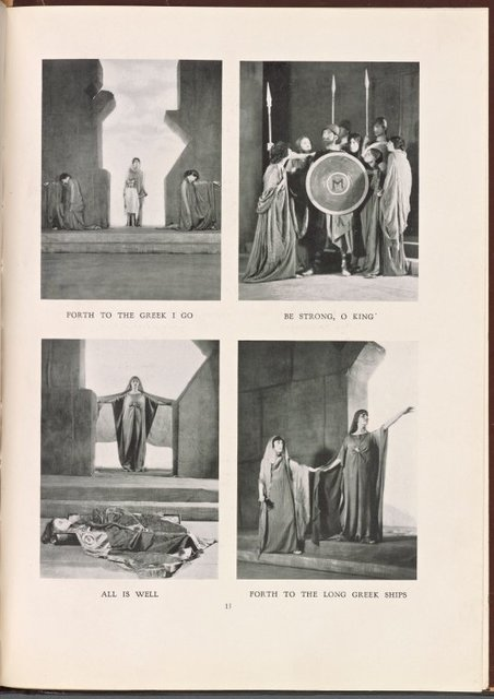"Four scenes from The Chicago Little Theatre Company's 1915 production of The Trojan Women. Clockwise from upper left: ""Forth to the Greek I Go;"" ""Be Strong, O King;"" ""Forth to the Long Greek Ships;"" and ""All Is Well."""