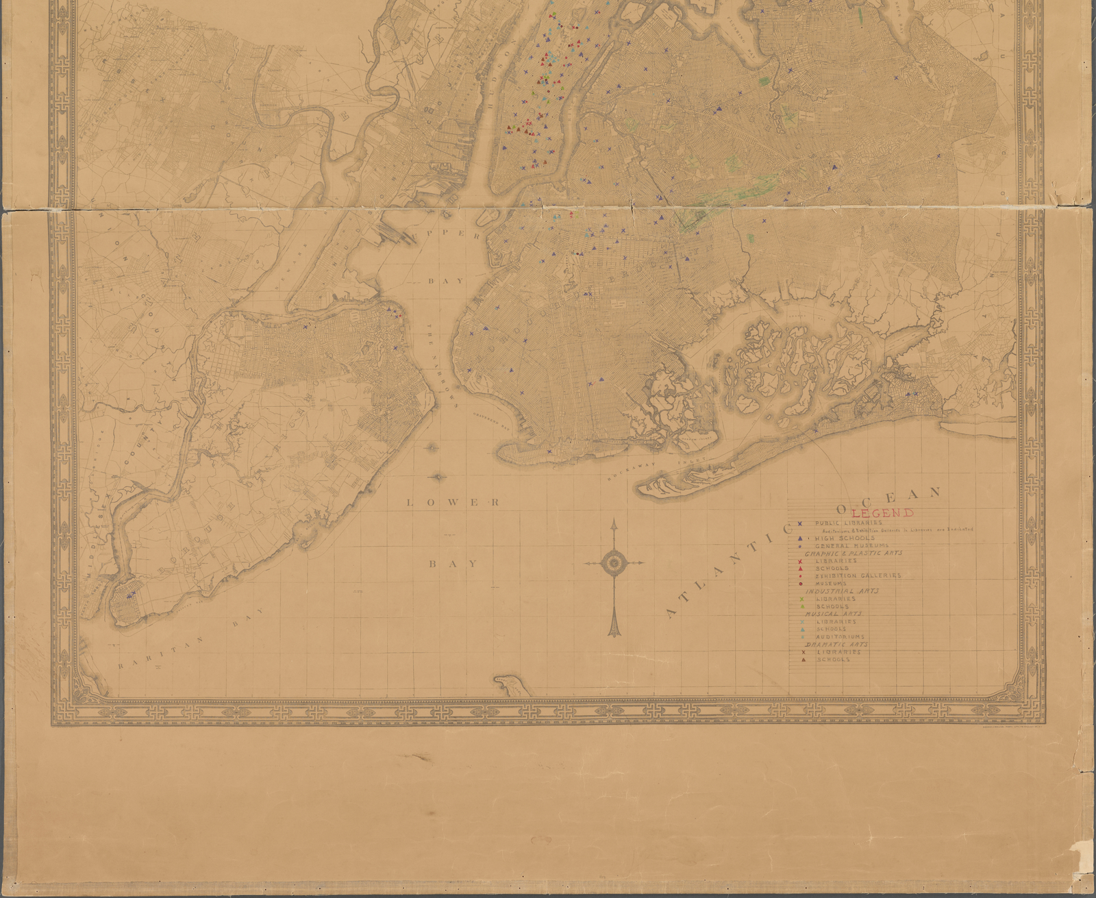 Map of the City of New York, compiled and prepared in conformity with the directions of the Board of Estimate and Apprtionment in the Office of the Chief Engineer. Shows schools, libraries, and museums