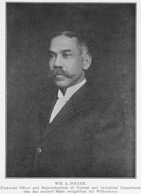 WM. A. Joiner.  Financial officer and Superintendent of Normal and Industrial Department who has secured State recognition for Wilberforce.