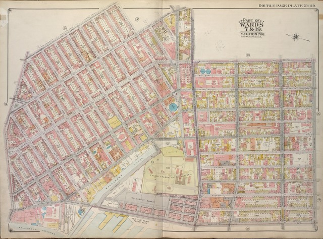 Brooklyn, Vol. 1, 2nd Part, Double Page Plate No. 29; Part of Wards 7 & 19, Section 7 & 8; [Map bounded by Marcy Ave., Heyward St., Lee Ave., Flushing Ave., Bedford Ave.; Including Willoughby Ave., Washington Ave., Cross St., Wallabout Channel, Division Ave.]
