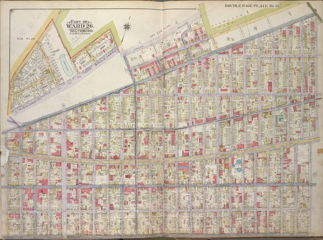 Brooklyn, Vol. 1, 2nd Part, Double Page Plate No. 42; Part of Ward 26, Section 12-13; [Map bounded by Highland Blvd., Laurel St., Sunnyside Ave., Force Tube Ave., Dresden St.; Including Atlantic Ave., Berriman St., Pitkin Ave., Williams Ave., Jamaica Ave., Miller Ave.]; Sub Plan [Map bounded by Vermont Ave., boundary line between the boroughs, Robert St., Robert Pl., Highland Blvd.]