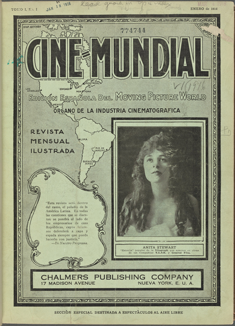 Cover of motion picture magazine Cine-Mundial, January, 1916 featuring inset image of actress Anita Stewart.