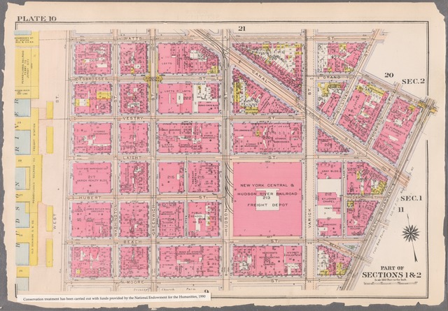 Plate 10: [Bounded by Watts Street, Sullivan Street, Grand Street, West Broadway, N. Moore Street, and West Street]