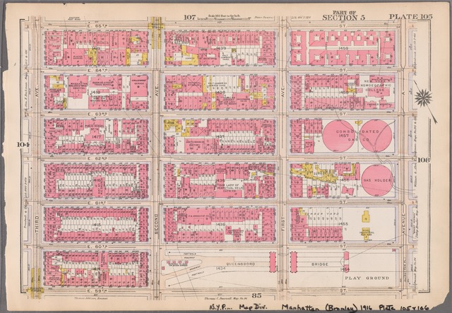 Plate 105: [Bounded by E. 65th Street, Avenue A, E. 60th Street, Second Avenue, E. 59th Street and Third Avenue]