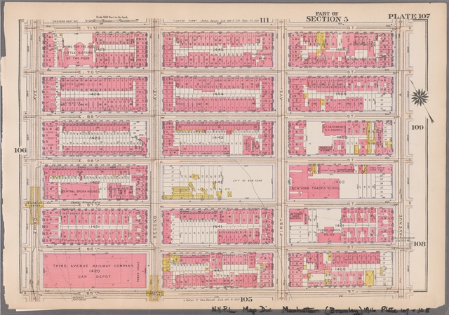 Plate 107: [Bounded by E. 71st Street, Avenue A, E. 65th Street and Third Avenue]