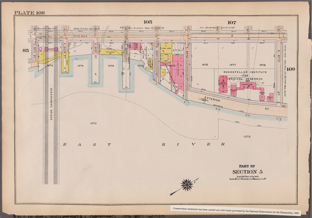 Plate 108: [Bounded by Avenue A, E. 67th Street, Exterior Street, East River and E. 65th Street]