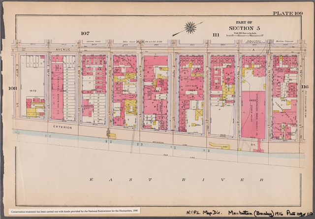 Plate 109: [Bounded by Avenue A, E. 76th Street, Exterior Street and E. 67th Street]