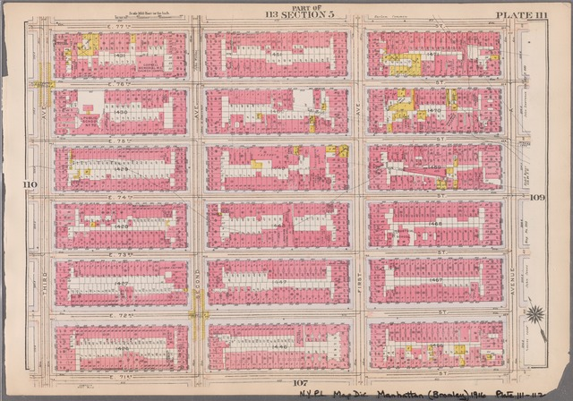 Plate 111: [Bounded by E. 77th Street, Avenue A, E. 71st Street and Third Avenue]