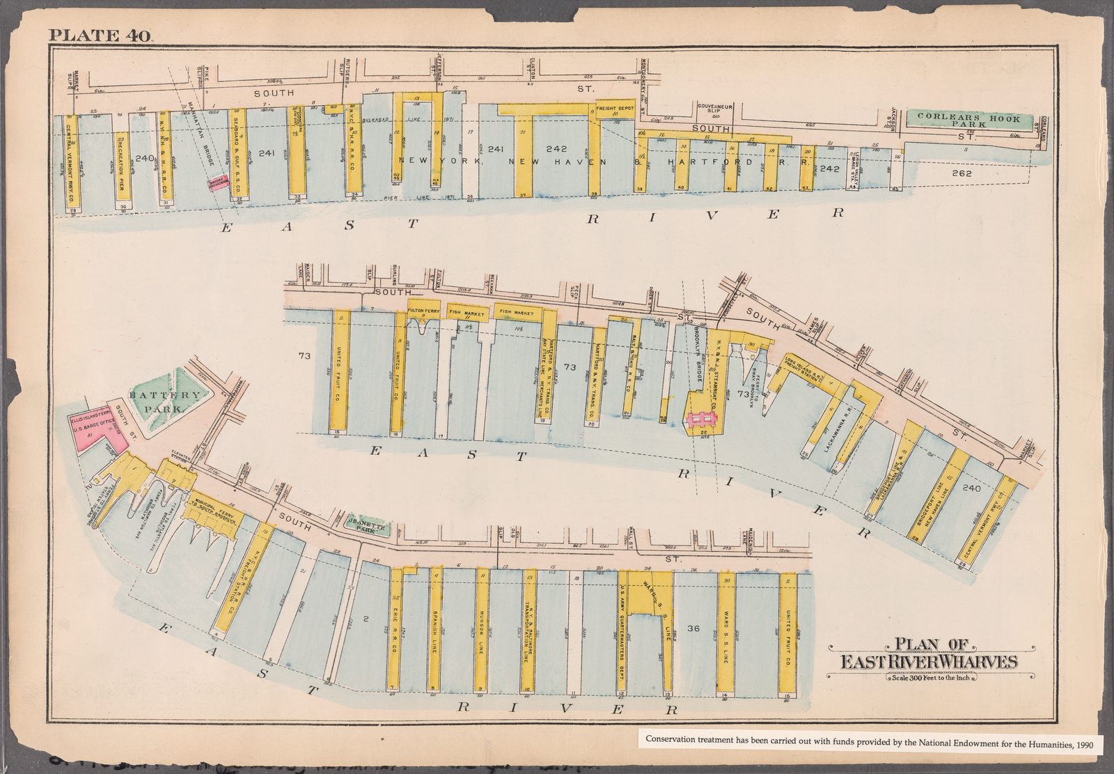 Plate 40: [Bounded by Corlears Street, Pierhead Line (Piers 45-1), Battery Park, Whitehall Street, and South Street]
