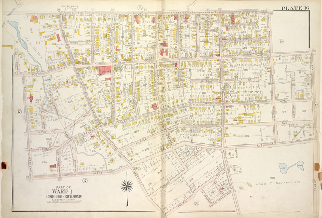 Plate 16, Part of Ward 1 [Map bound by Castleton Ave, N. Burgher Ave (Burgher), Cary Ave, Bement Ave, John T. Barrett Hrs., Broadway, Raleigh (Division Ave) Ave, Freeman PL, Purcell St, Clove Road (Brooks Ave) (Columbia St), Forest Ave (Cherry Lane), Greenleaf Ave, Post Ave, Spring St]