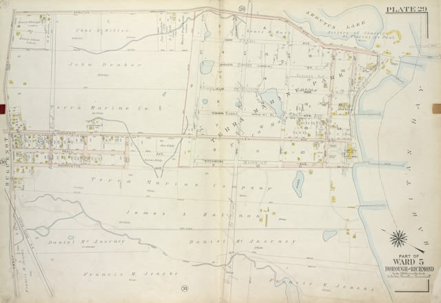 Plate 29, Part of Ward 5 [Map bound by Arbutus Ave (Broadway), Arbutus Lake, 5th St, Raritan Bay, Sycamore Ave, Androvette Ave, Amboy Road]