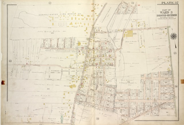 Plate 37, Part of Ward 3 [Map bound by Attorney St, Essex St, Lambert St, Center St, Spring St, De Puy St (Columbia Ave), Richmond Ave (Old Stone Road), Deppe PL, Morris St, Franklin St, Houston St, Watchogue Road, Willow Brook Road (Gun Factory RD), Neptune PL, Hawthorne Ave, Richmond Turnpike, Morningstar Road, Elton PL, Grand St, Merrill Ave, Lamberts Lane]